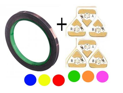 Kit  LED STICKERS Couleur (x6)  + Ruban Cuivre pour Carterie - LED CHIBITRONICS