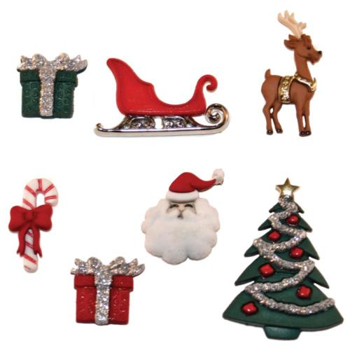 Boutons Fantaisies - Assortiment NOEL Christmas Eve (x5)