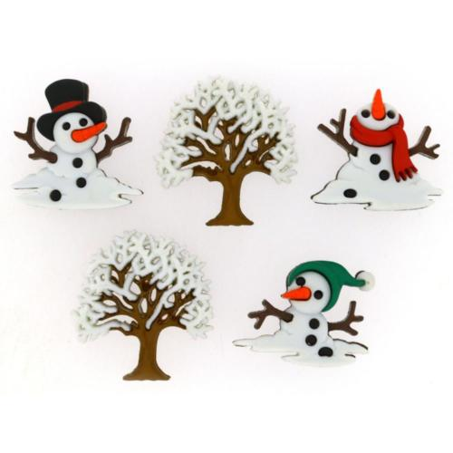 Boutons Fantaisies - Assortiment BONHOMME NEIGE Snow Don't Go (x5)