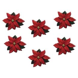 Boutons Fantaisies - Assortiment NOEL POINSETTIA (x5)