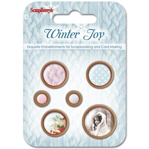 ScrapBerry's - Boutons Shabby WINTER JOY