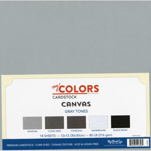 Assortiment Papier 30x30 Uni - CANVAS GRAY TONES (18 feuilles)