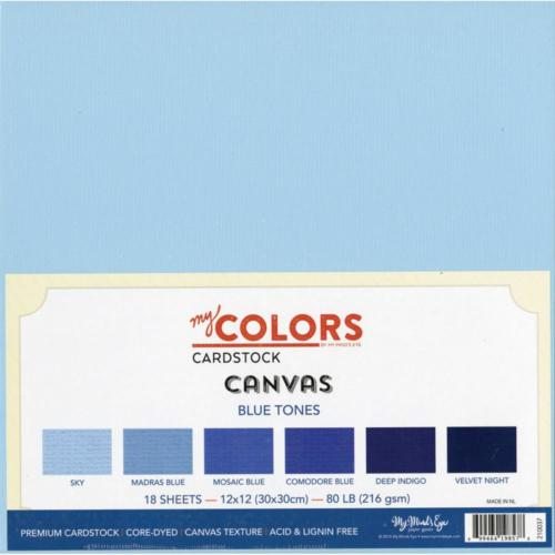 Assortiment Papier 30x30 Uni - CANVAS BLUE TONES (18 feuilles)