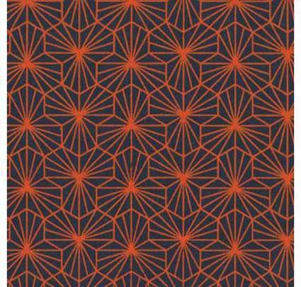 Papier Fantaisie 100% Coton - ALIENOR Indigo/Orange