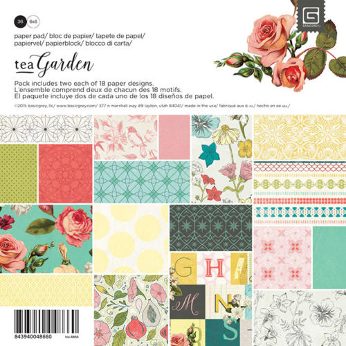 Paper Pad 15x15 - Basic Grey - TEA GARDEN