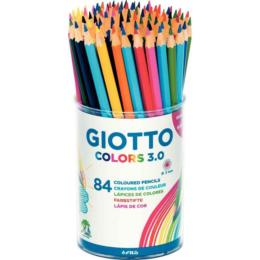 Pot 84 CRAYONS de COULEUR -  Mine 3mm - GIOTTO COLORS 3.0