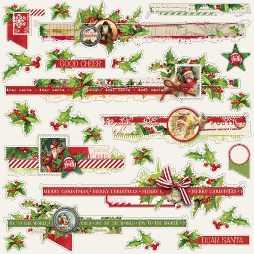 SIMPLE VINTAGE CHRISTMAS - Kit Papiers (x6) + 2 Stickers - Simple Stories