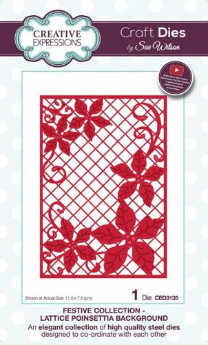 Découpe Creative Expressions - Festive Collection - LATTICE POINSETTIA BACKGROUND