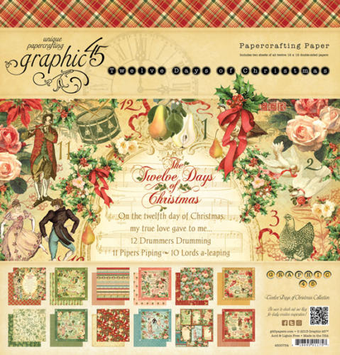 Graphic 45 - TWELVE DAYS OF CHRISTMAS - Papercrafting ( 24 papiers )