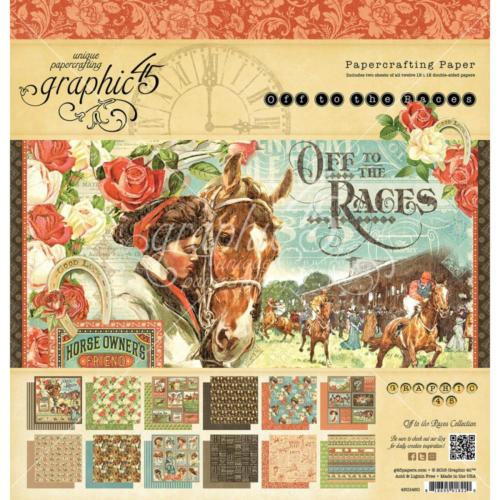 Graphic 45 - OFF TO THE RACES - Papercrafting ( 24 papiers )