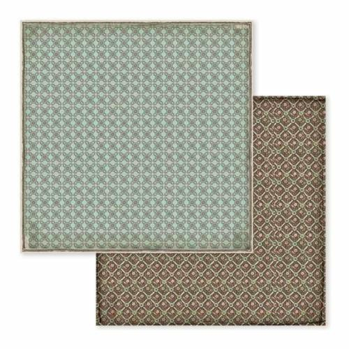 STAMPERIA - Collection VOYAGES FANTASTIQUES - Turquoise/Brown Wallpaper papier 30x30