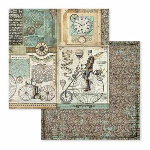 STAMPERIA - Collection VOYAGES FANTASTIQUES - Retro Bicycles papier 30x30