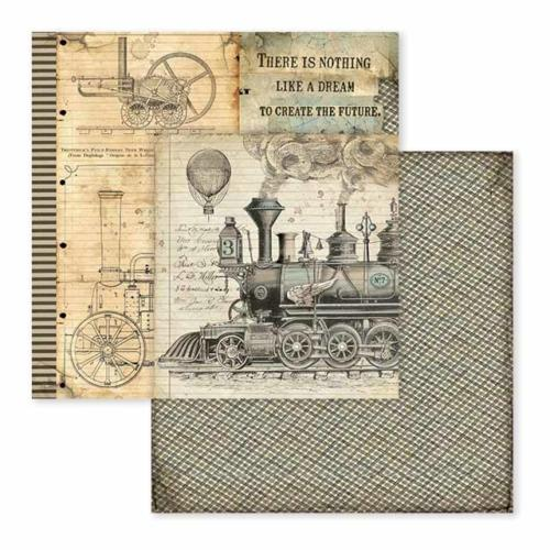 STAMPERIA - Collection VOYAGES FANTASTIQUES - Stream Train papier 30x30