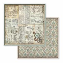 STAMPERIA - Collection VOYAGES FANTASTIQUES - Gears papier 30x30