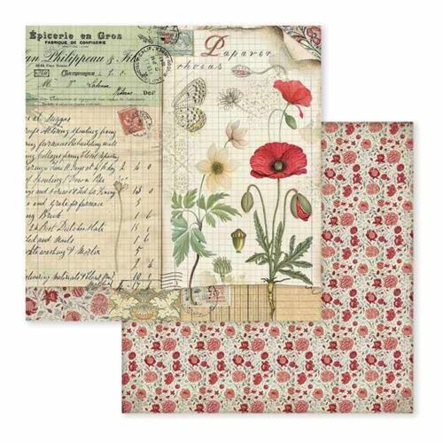 STAMPERIA - Collection SPRING BOTANIC - Poppy Butterfly papier 30x30