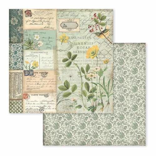 STAMPERIA - Collection SPRING BOTANIC - Yellow Alpine papier 30x30