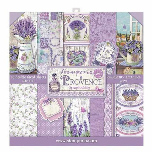 STAMPERIA - Collection PROVENCE - Kit Assortiment 10 Papiers