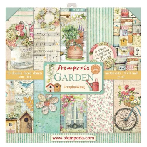 STAMPERIA - Collection GARDEN - Kit Assortiment 10 Papiers