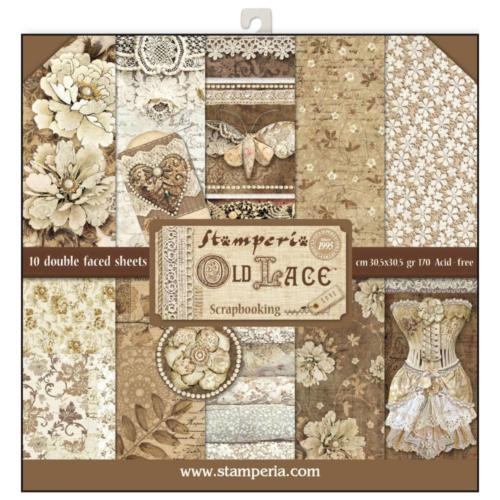 STAMPERIA - Collection OLD LACE - Kit Assortiment 10 Papiers