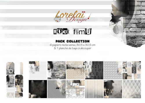 Lorelai Design - Kit Papiers ROCK FAMILY + 1 Planche de TAGS