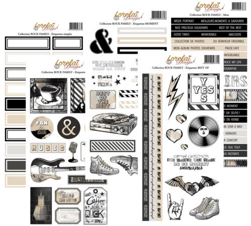 Lorelai Design - Assortiment des 5 Planches Etiquettes ROCK FAMILY