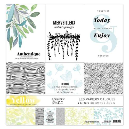 Florilèges Design - Kit Papiers CALQUES YELLOW