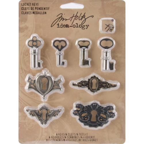 Tim Holtz Idea Ology - LOCKET KEYS ( 4 sets )