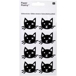 Stickers HALLOWEEN - Chat Noir en Paillette