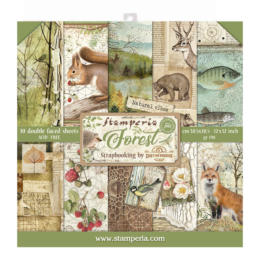 STAMPERIA - Collection FOREST - Kit Assortiment 10 Papiers
