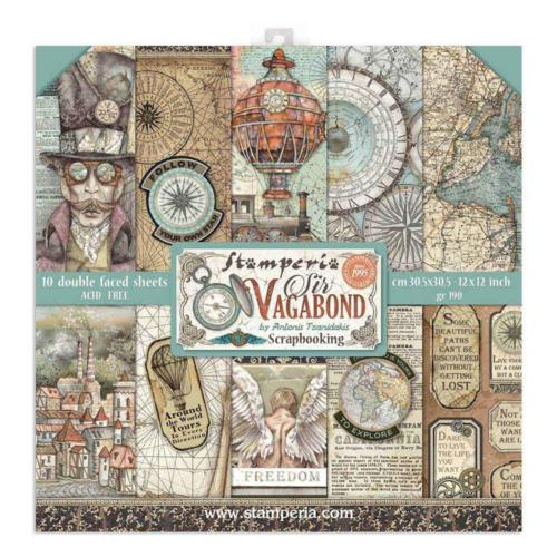 STAMPERIA - Collection SIR VAGABOND - Kit Assortiment 10 Papiers