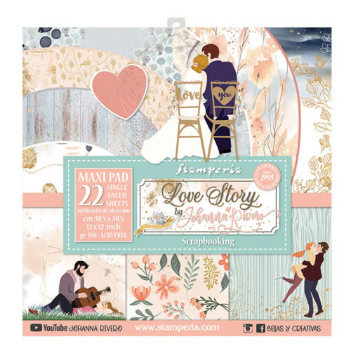 STAMPERIA - Collection LOVE STORY - Maxi Pad Assortiment 22 Papiers