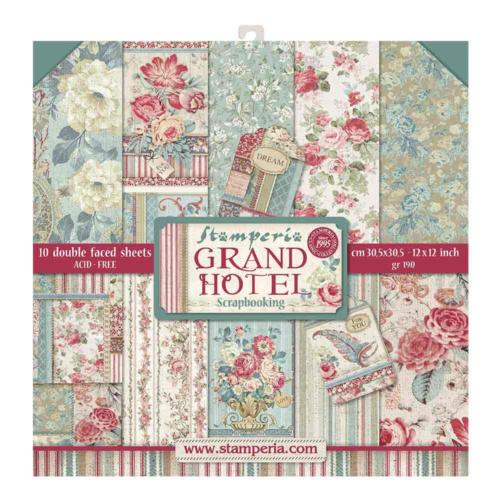 STAMPERIA - Collection GRAND HOTEL - Kit Assortiment 10 Papiers