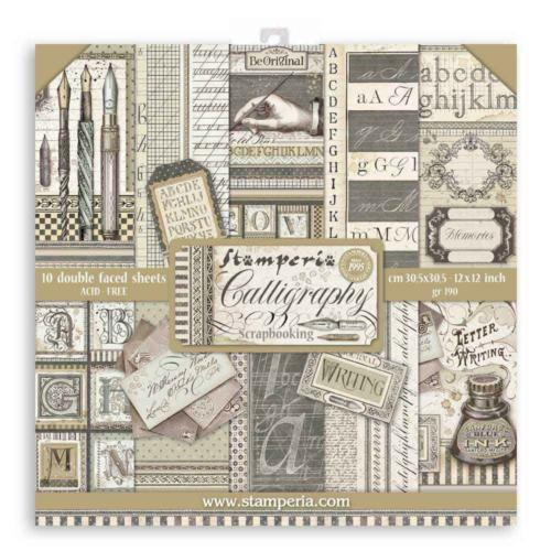 STAMPERIA - Collection CALLIGRAPHY - Kit Assortiment 10 Papiers