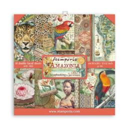 STAMPERIA - Collection AMAZONIA - Kit Assortiment 10 Papiers