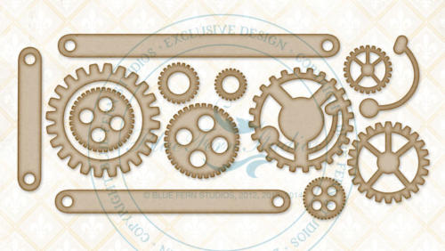 Chipboard Carton - Cogs and Gears - Blue Fern Studios